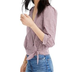 Madewell Wrap Top in Gingham Check  XXS